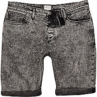 Black acid wash skinny denim shorts
