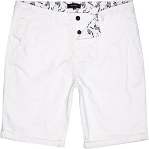 White slim chino shorts