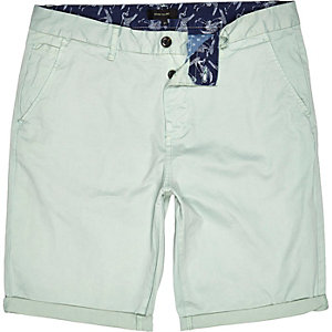 Mint green slim chino shorts