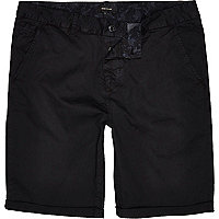 Black slim chino shorts