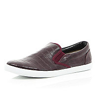 Red mock croc plimsolls