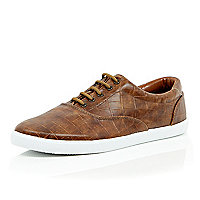 Brown mock croc lace up plimsolls