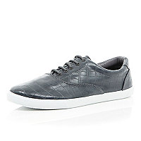 Grey mock croc lace up plimsolls