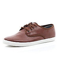 Brown leather-look lace up plimsolls