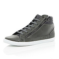 Grey panel zip hi-top trainers