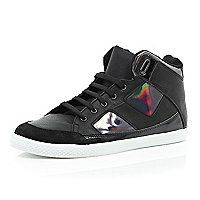 Black high shine mid tops