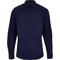 Navy long sleeve black button shirt
