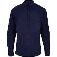 Navy long sleeve black button shirt