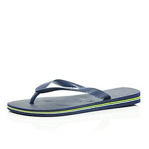 Navy Havaianas flip flops