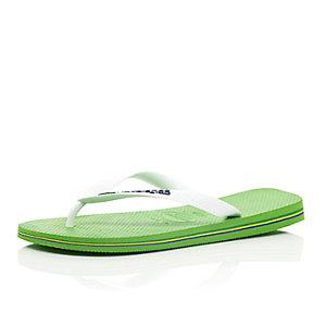 Green Havaianas flip flops