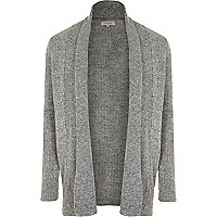 Grey longline knitted cardigan