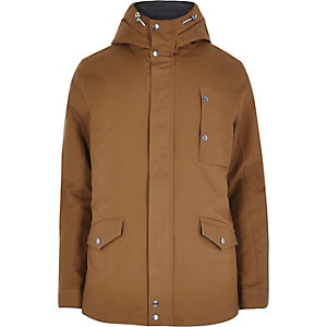 Brown padded hooded jacket