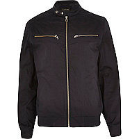 Navy double popper bomber jacket
