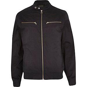 Navy double popper bomber jacket