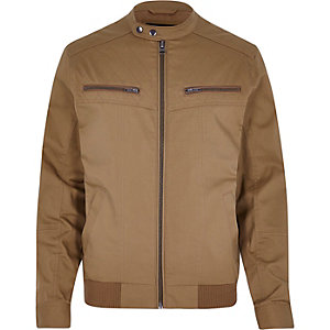 Brown casual bomber jacket