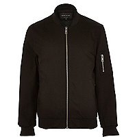 Black casual zip sleeve bomber jacket