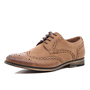 Brown brogue formal shoes