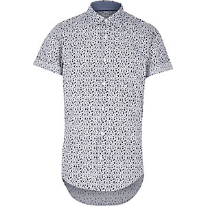 White micro floral print short sleeve shirt