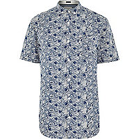 White fish print short sleeve shirt