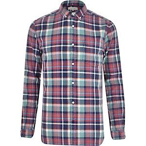Purple check long sleeve shirt