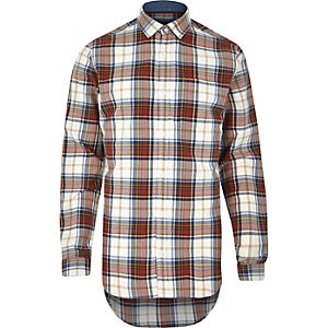 Ecru neutral check long sleeve shirt