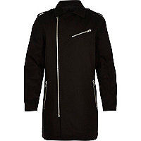 Black longer length zip detail trench jacket