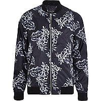 Black floral bomber jacket