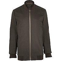 Grey casual longer length bomber jacket