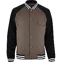 Brown varsity bomber jacket