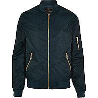 Blue casual bomber jacket