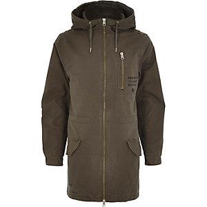 Khaki utility zip through parka jacket
