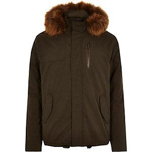 Khaki green cropped faux fur parka jacket