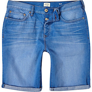Blue denim turn up slim shorts