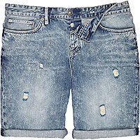 Blue acid wash slim denim shorts