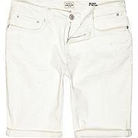 White skinny stretch denim shorts