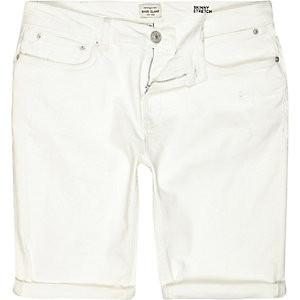 White skinny stretch denim shorts