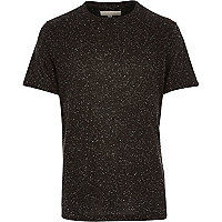Black neppy roll sleeve t-shirt