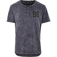 Grey acid wash 96 print curved hem t-shirt