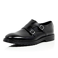 Black leather chunky sole monk strap shoes
