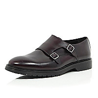 Red leather chunky sole monk strap shoes