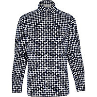 Blue abstract check print long sleeve shirt