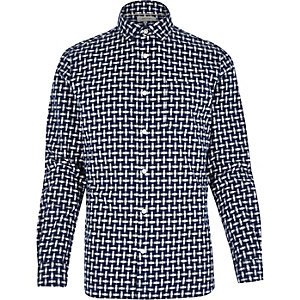 Blue abstract check print long sleeve shirt