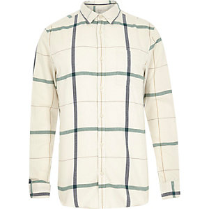 Ecru large check long sleeve shirt
