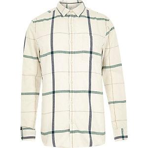 Ecru large check long sleeve shirt