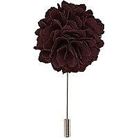 Red ruffle rose lapel pin
