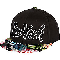 Black New York floral flatpeak cap hat