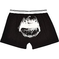 Black shark print boxers