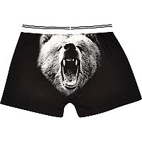 Black grizzly bear print boxers