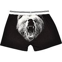 Black grizzly bear print boxers