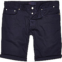 Blue denim turn up shorts